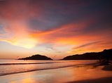 Beautiful sunset on Palolem beach, Goa, India