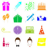 New year colorful icons on white background