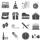 New year gray icons on white background