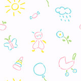 Doodle babies seamless pattern