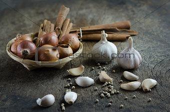food ingredients on wooden