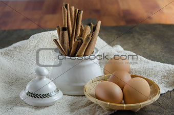 cinnamon sticks and eggs