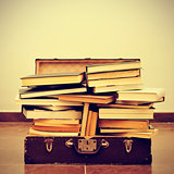 books in a suitcase