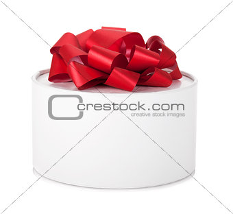 Single round gift box with red ribbon bow