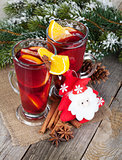 Christmas mulled wine with fir tree