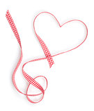 Valentine's Day heart shaped red ribbon