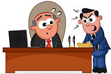 Business Cartoon - Boss Man and Shouting Employee