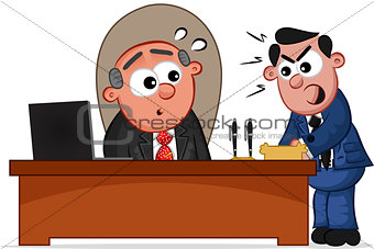 Business Cartoon - Boss Man and Shouting Employee