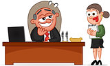 Business Cartoon - Boss Man and Secretary