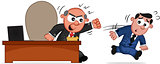 Business Cartoon - Boss Man Angry and Employee Running Away