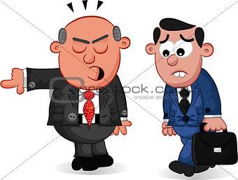 Business Cartoon - Boss Man Firing an Employee