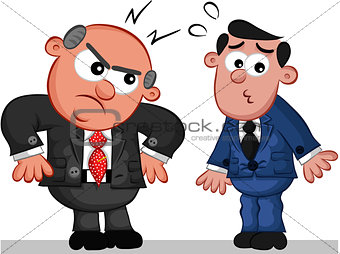 Business Cartoon - Boss Man Angry at Employee