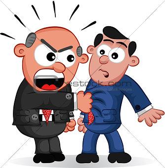 Business Cartoon - Boss Man Yelling at Employee
