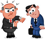 Business Cartoon - Boss Man Angry at Late Employee