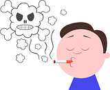 Smoking Cigarette With Skull Smoke