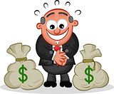 Boss Cartoon with Money Bags