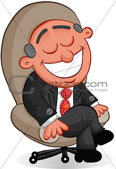 Business Cartoon - Boss Man Happy