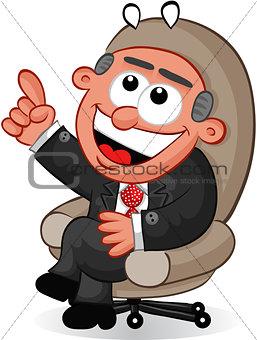 Business Cartoon - Boss Man with an Idea