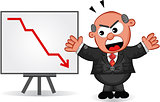Business Cartoon - Cartoon Boss Man Angry at Chart