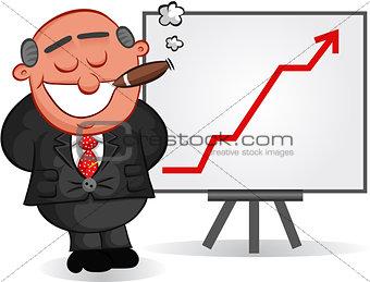 Business Cartoon - Cartoon Boss Man Satisfied with Chart