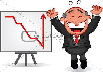 Business Cartoon - Boss Man Happy with Chart
