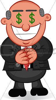 Business Cartoon - Man Greedy with Money Eyes