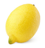 Single lemon on white
