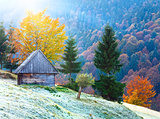 autumn mountain sunshine view with shed