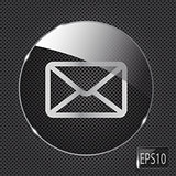 Glass mail button icon on metal background. Vector illustration