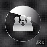 Glass social network button icon on metal background. Vector ill