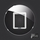 Glass pad button icon on metal background. Vector illustration