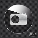 Glass photo button icon on metal background. Vector illustration