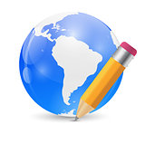 Yellow Pencil and Globe Publish Icon Vector Illustration
