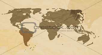 Retro Grunge World Map Vector Illustration