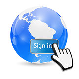 Mouse Hand Cursor on Sign In Button and Globe Vector Illustratio