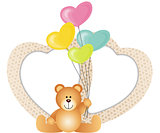 Lovely Valentines Frame with Teddy Bear and Balloons Shaped as Hearts