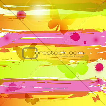 Watercolor background with butterflies, blots and flares