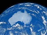 Australia on blue Earth