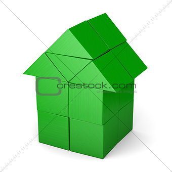 Green house made of cubes