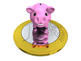 Piggy bank on Euro coin