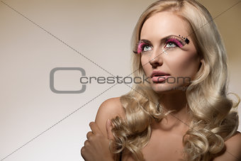 blond girl with creative make-up