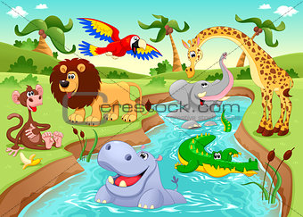 African animals in the jungle.