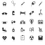 Hospital icons with reflect on white background