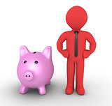 Pig money box and businessman