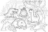 Funny dinosaurs in a prehistoric landscape, black and white.