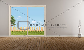 Closed sliding window in a empty room