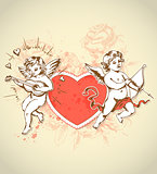Valentine card with cupids