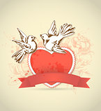 Vintage card with red heart and dove