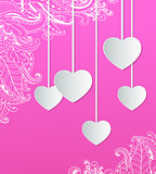 Pink background with paper hearts