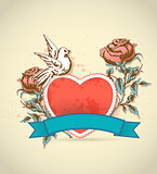 Red heart, roses and dove